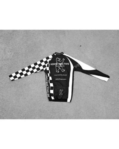 Konstructive Team Clothing, Mens Cycling Jersey, lang, black and white style, Größe medium