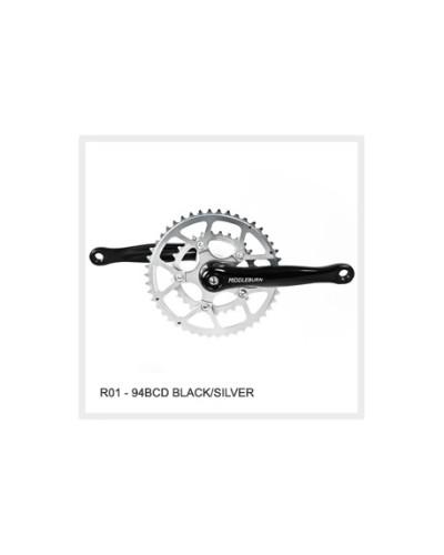 Middleburn RO1 4-Kant Rennrad-Kurbel ohne Spider und Blätter, schwarz eloxiert