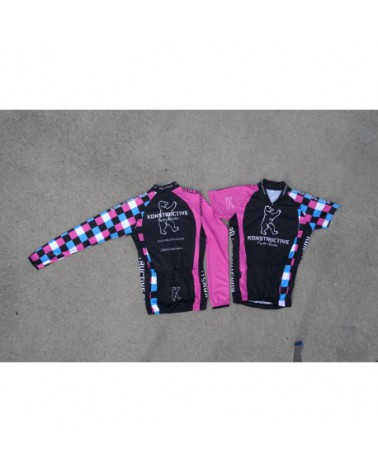 Konstructive Team Clothing, Womens Cycling Jersey, short, pink and blue style, Größe small