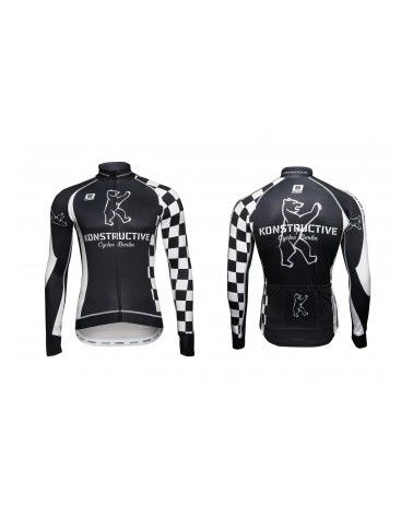 "Konstructive Clothing, mens cycling jersey, long sleeved, ""Team Checker Flag"" style, Größe / size small"