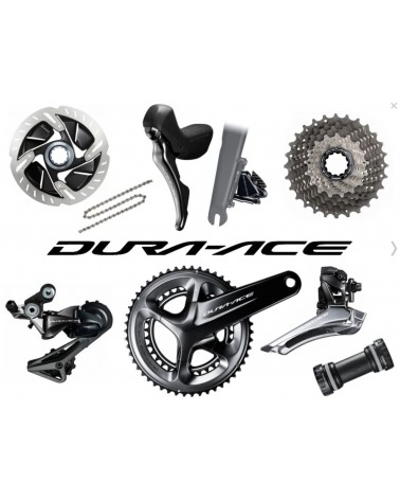 Shimano Dura Ace, 2 x 11, disc brakes, shifters, drivetrain